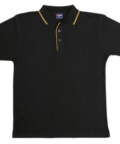 Men's Double Strip Polo - S, Black/Gold