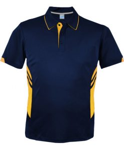 Men's Tasman Polo - S, Navy/Gold
