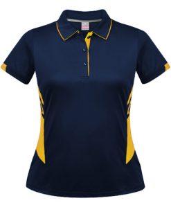 Women's Tasman Polo - 14, Navy/Gold