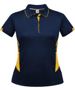 Women's Tasman Polo - 4, Navy/Gold