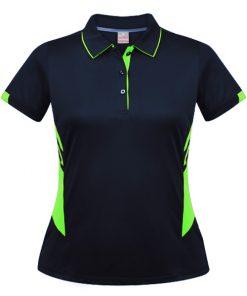 Women's Tasman Polo - 12, Navy/Neon Green