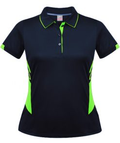 Women's Tasman Polo - 4, Navy/Neon Green