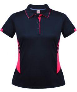 Women's Tasman Polo - 4, Navy/Neon Pink