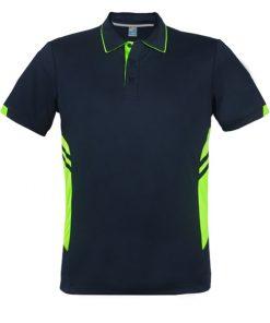 Men's Tasman Polo - L, Navy/Neon Green