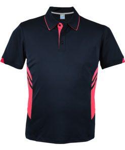 Men's Tasman Polo - L, Navy/Neon Pink