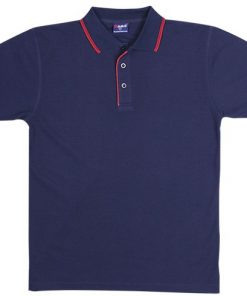 Men's Double Strip Polo - M, Navy/Red
