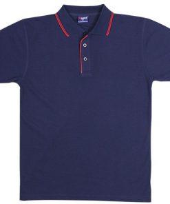 Men's Double Strip Polo - 2XL, Navy/Red
