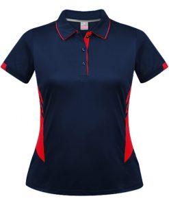 Women's Tasman Polo - 16, Navy/Red