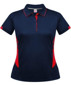 Women's Tasman Polo - 4, Navy/Red