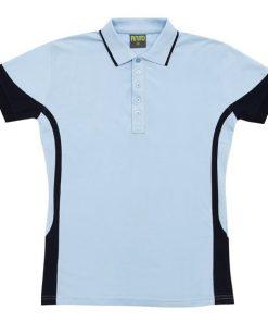Men's super fine cotton blend polo - Sky/Navy, M
