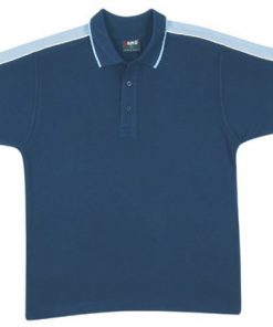 Men's Shoulder Panel Polo - S, navy body with surf pannel & white piping