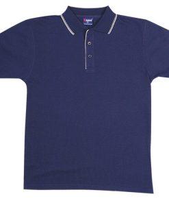 Men's Double Strip Polo - XL, Navy/White