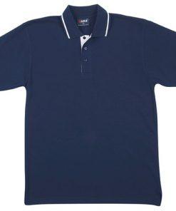 Men's Single Strip Polo - L, Navy/White