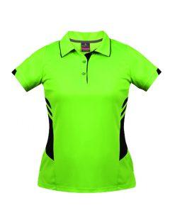 Women's Tasman Polo - 14, Neon Green/Black