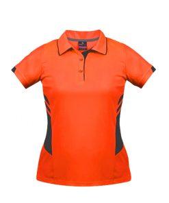 Women's Tasman Polo - 4, Neon Orange/Slate