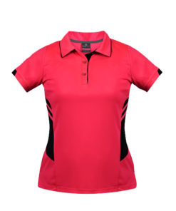Women's Tasman Polo - 8, Neon Pink/Black