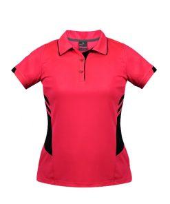 Women's Tasman Polo - 16, Neon Pink/Black