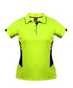 Women's Tasman Polo - 14, Neon Yellow/Black