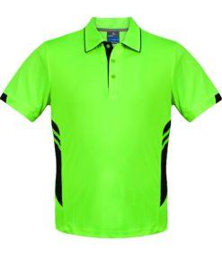 Men's Tasman Polo - L, Neon Green/Black