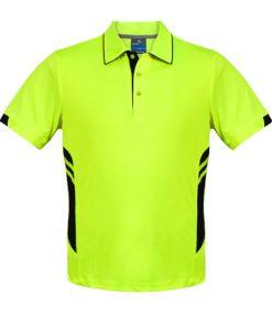Men's Tasman Polo - L, Neon Yellow/Black