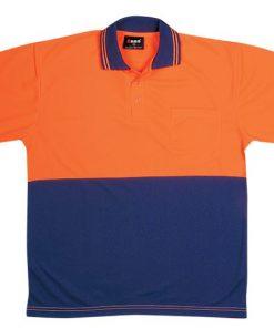 Men's Short Sleeve Safety Polo - 2XL, Fluoro Orange/Navy