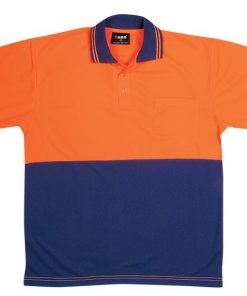Men's Short Sleeve Safety Polo - 3XL, Fluoro Orange/Navy