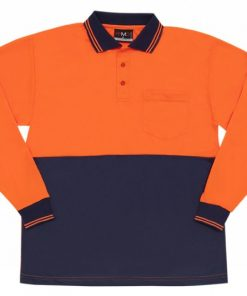 Men's Long Sleeve Safety Polo - 4XL, Fluoro Orange/Navy