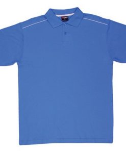 Men's Single Piping Polo - L, Pacific Blue/White