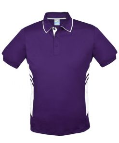 Men's Tasman Polo - L, Purple/White
