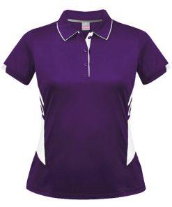 Women's Tasman Polo - 14, Purple/White