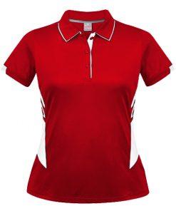 Women's Tasman Polo - 4, Red/White