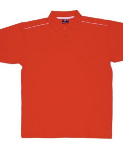 Men's Single Piping Polo - M, Red/White