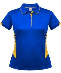 Women's Tasman Polo - 14, Royal/Gold