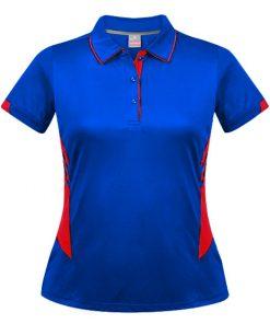 Women's Tasman Polo - 12, Royal/Red