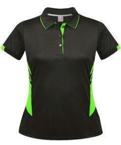 Women's Tasman Polo - 10, Slate/Neon Green