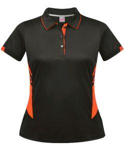 Women's Tasman Polo - 4, Slate/Neon Orange
