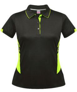 Women's Tasman Polo - 8, Slate/Neon Yellow