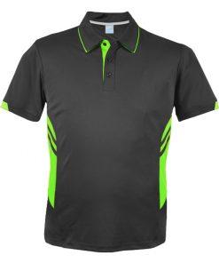 Men's Tasman Polo - L, Slate/Neon Green