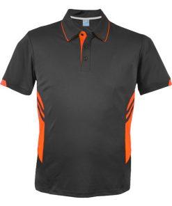 Men's Tasman Polo - L, Slate/Neon Orange
