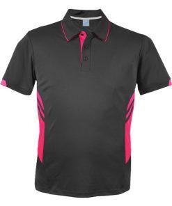 Men's Tasman Polo - L, Slate/Neon Pink
