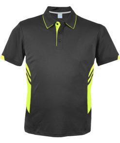 Men's Tasman Polo - L, Slate/Neon Yellow
