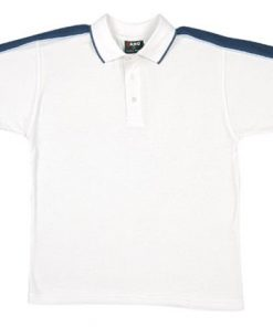 Men's Shoulder Panel Polo - S, white body with navy pannel & surf piping