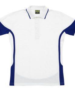Men's super fine cotton blend polo - White/Royal, 2XL