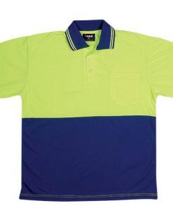 Men's Short Sleeve Safety Polo - L, Fluoro Yellow/Navy
