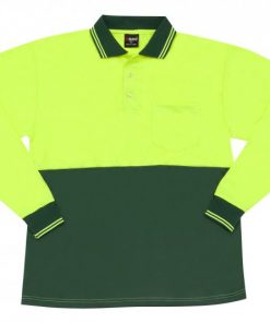 Men's Long Sleeve Safety Polo - L, Flouro Yellow/Bottle Green