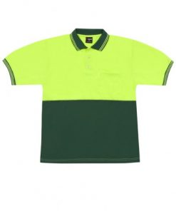 Men's Short Sleeve Safety Polo - L, Flouro Yellow/Bottle Green