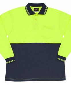 Men's Long Sleeve Safety Polo - L, Fluoro Yellow/Navy